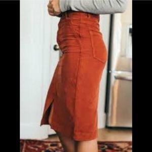 Free People Rosemary Corduroy skirt 25 NWT Brick